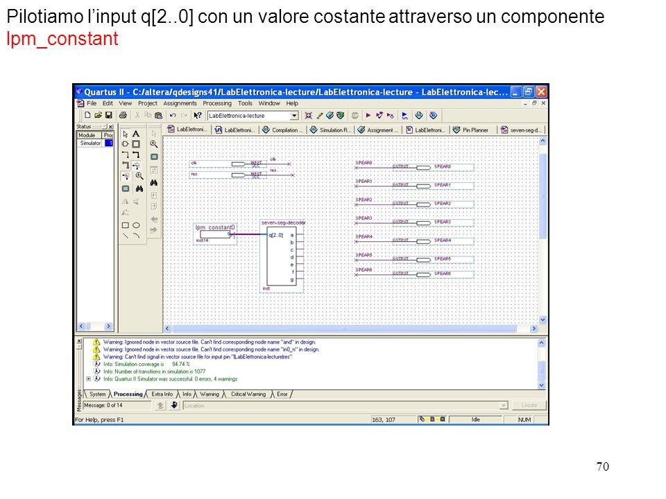 Pilotiamo l'input q[2..0] con un valore costante attraverso un componente lpm_constant
